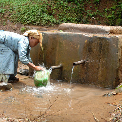Clean water: protected spiring, paid for with the Fairtrade premium, Choche
